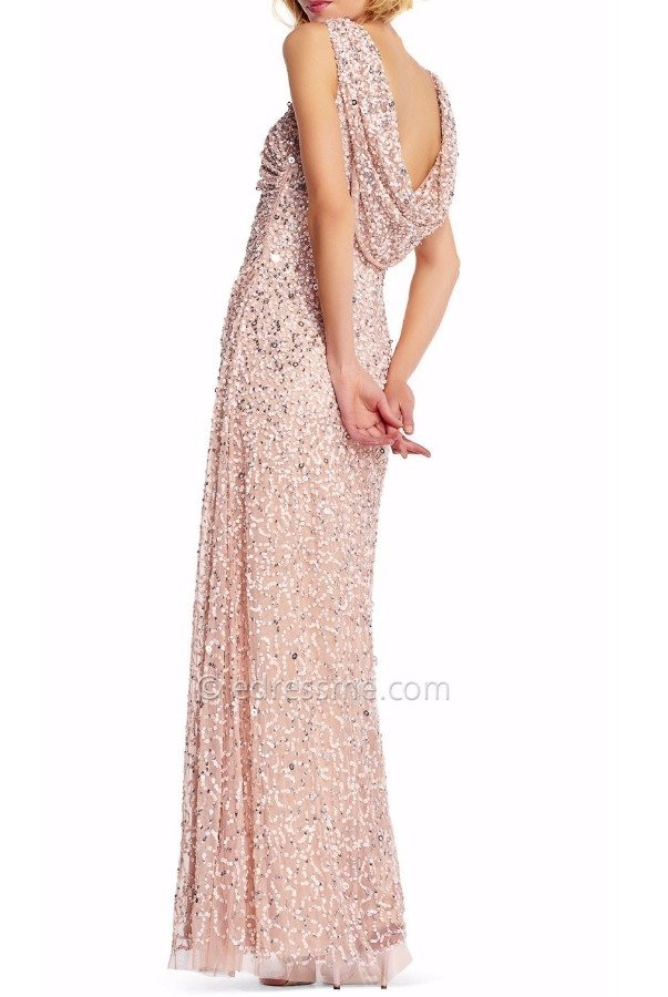 Adrianna Papell Cowl back Plus size Sequin Gown  Blush