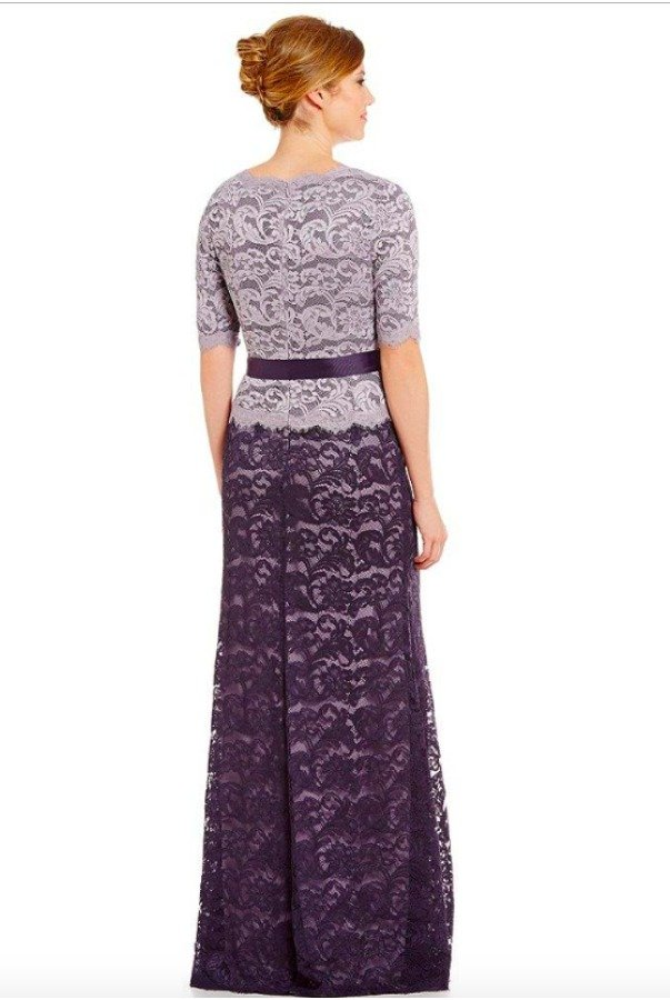 Adrianna Papell Scalloped V-Neck  Long Sleeve  Lace Gown Violet