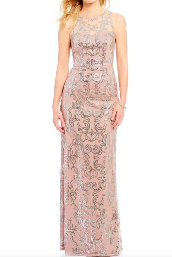 Adrianna Papell  Blush Sequin Lace Illusion Halter Neck Gown Dress
