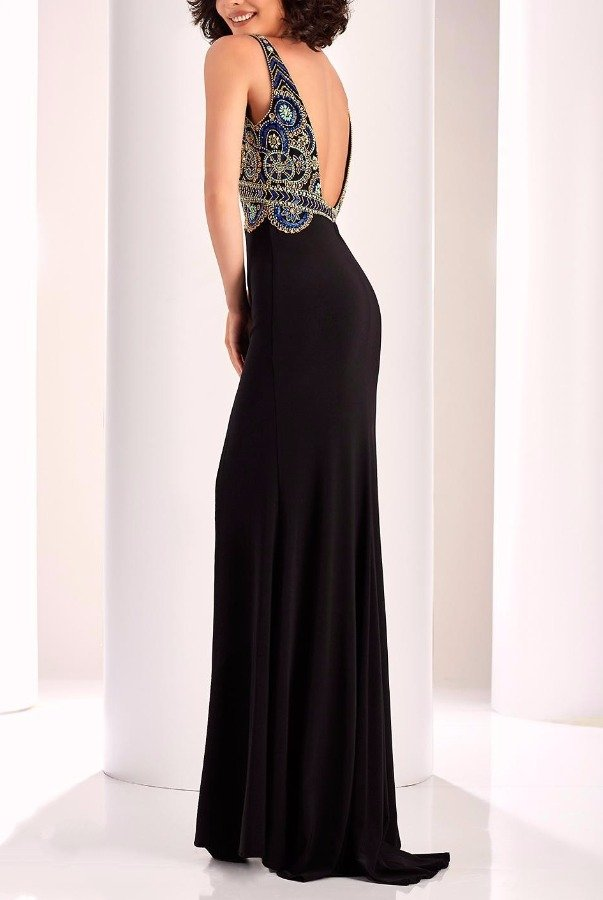 Clarisse 4828 Black Fanciful Beaded Evening Gown Dress