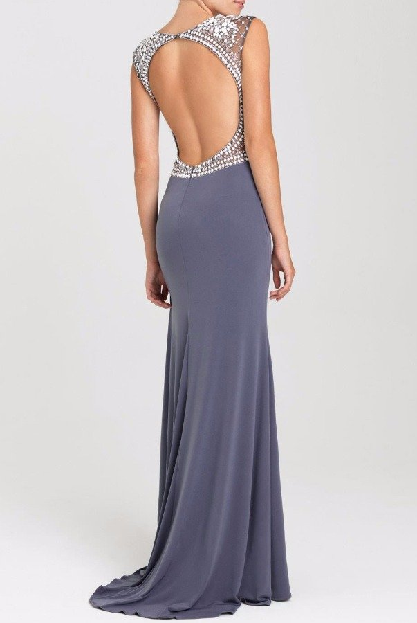 Madison James 16417 Gunmetal Silver Beaded Cap Sleeve Gown
