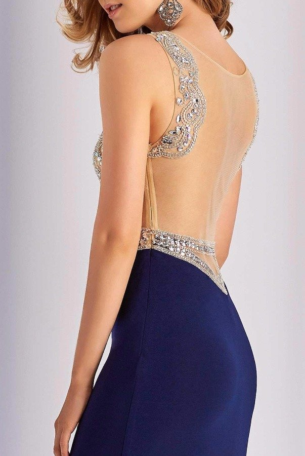 Clarisse 3080 Embellished Navy Evening Dress Illusion Gown