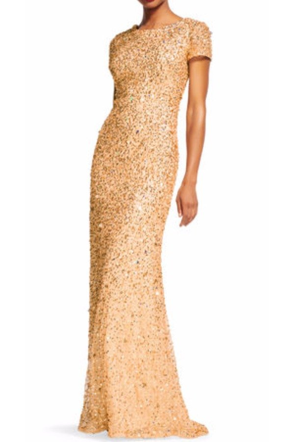 Adrianna Papell Gold Scoop Back Sequin Cap Sleeve Dress Gown