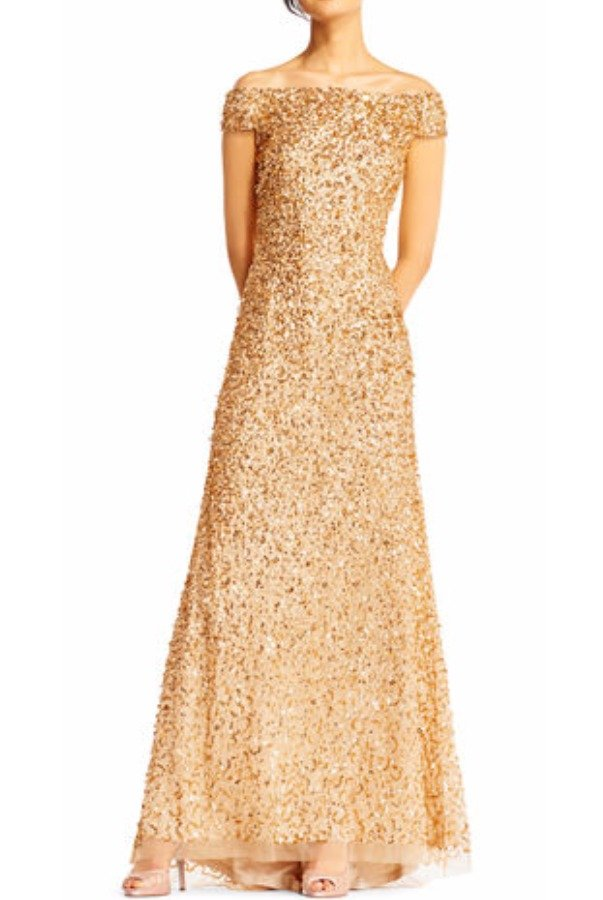 Adrianna Papell Gold Off Shoulder Sequin Beaded Gown Dress Poshare