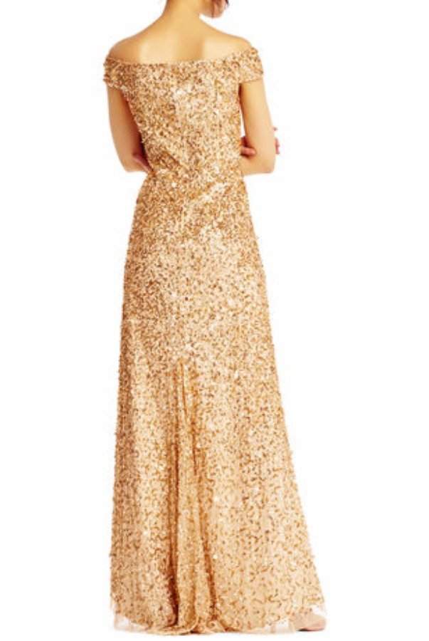 Adrianna Papell Gold Off Shoulder Sequin Beaded Gown Dress