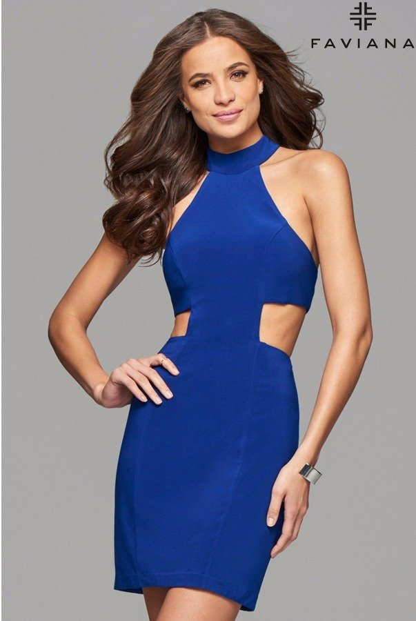 Faviana 7855 Royal Blue Sophisticated Halter Party Dress