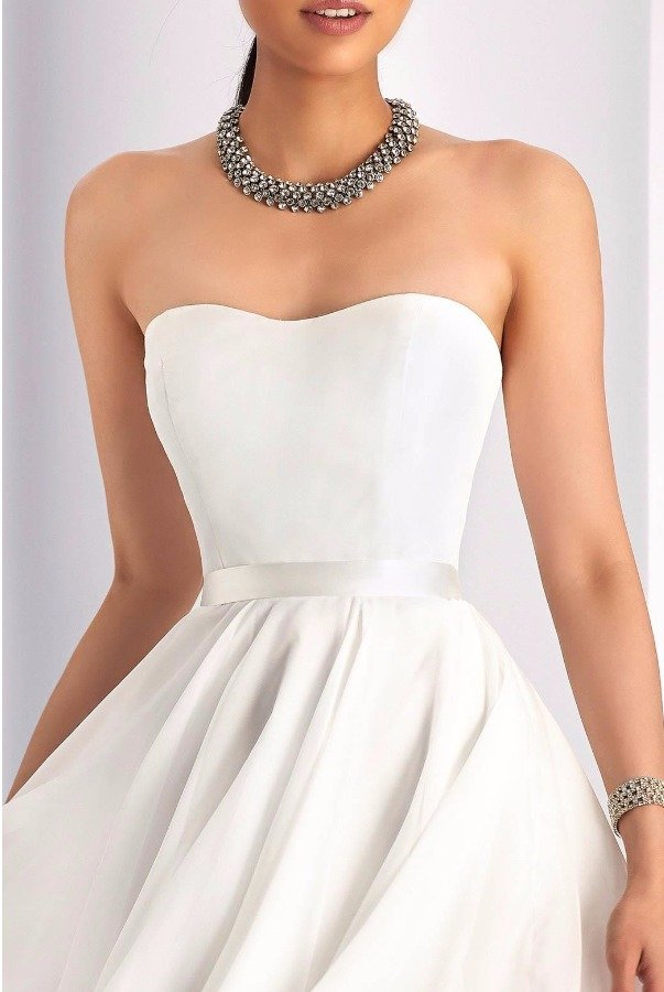 Clarisse 3215 Sleek Strapless White Cocktail Dress