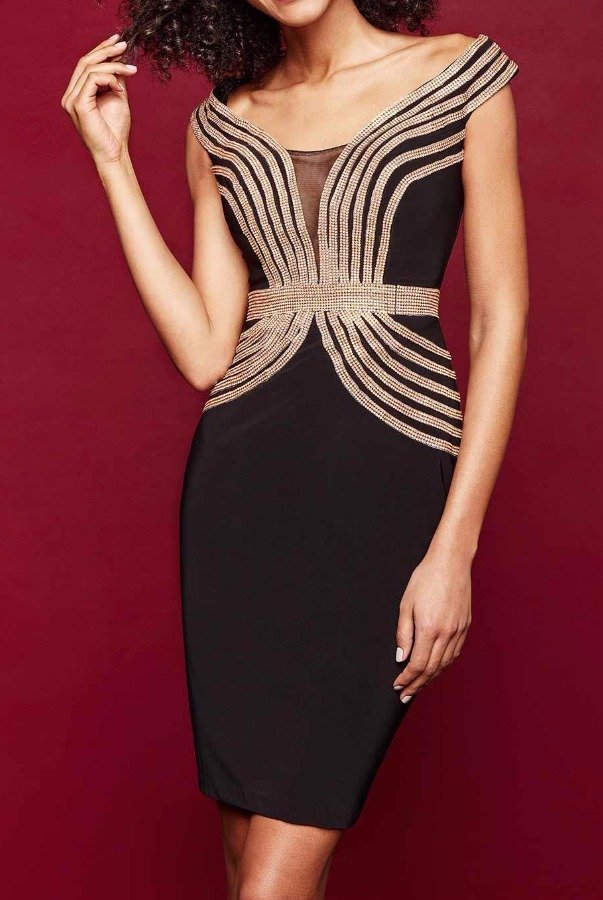 Clarisse 3352 Embellished Elegant Black Cocktail Dress