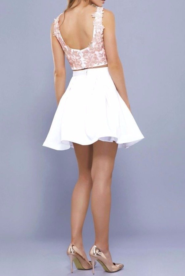 Nox Anabel 6344 Peachy Two Piece Lace Party Cocktail Dress