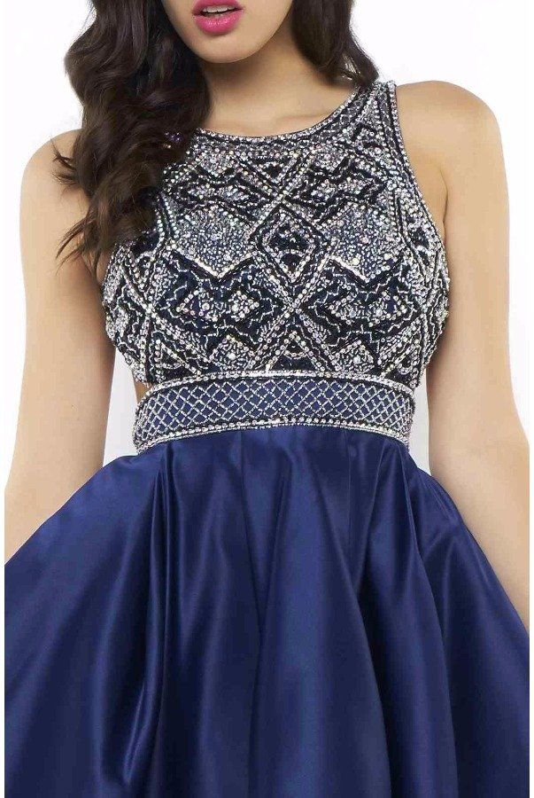 Mac Duggal 40548N Blue Fit Flare Beaded Cocktail Dress