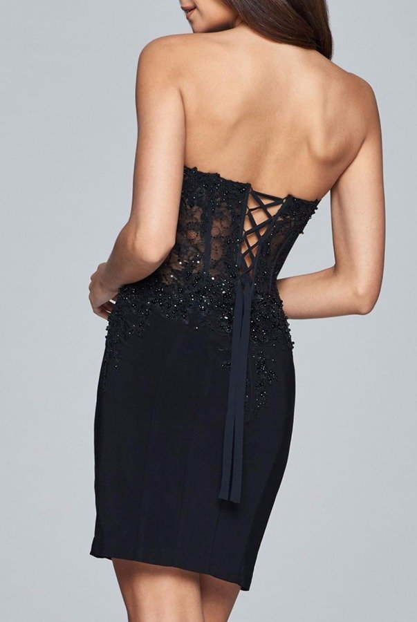 Faviana S8074 Black Strapless Lace Corset Cocktail Dress