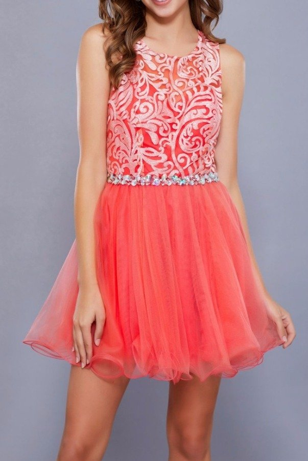 Nox Anabel 6252 Coral Embroidered Tulle Party Dress