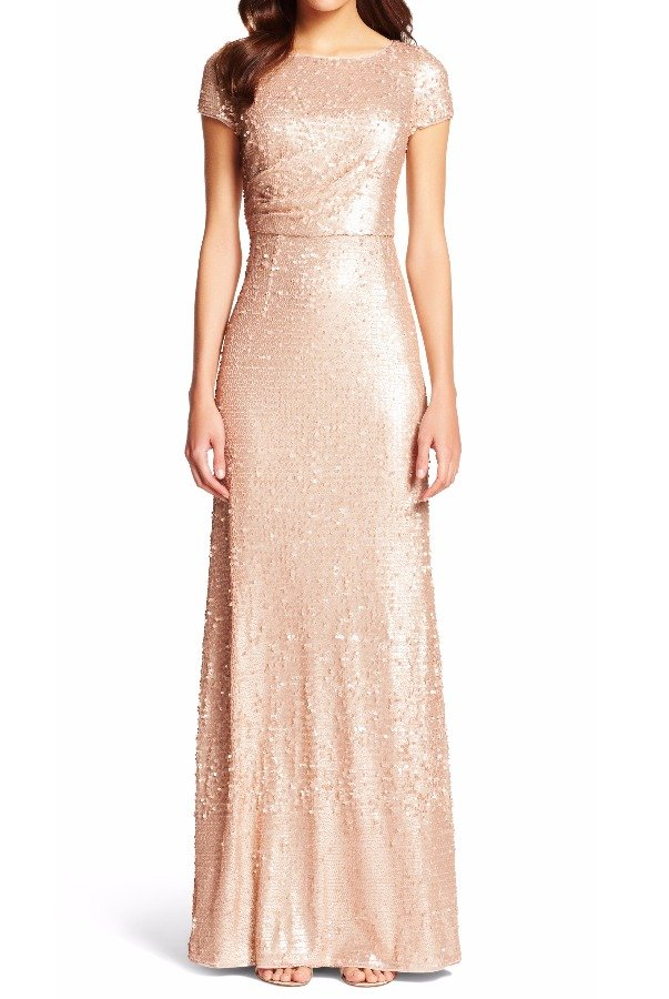 adrianna  papell  Sequined Gathered Evening Dress Gown  Nude