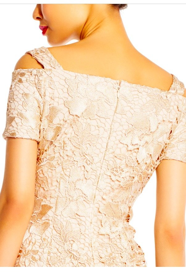 Adrianna Papell Lace Nude Column Dress with Cold Shoulder Sleeves