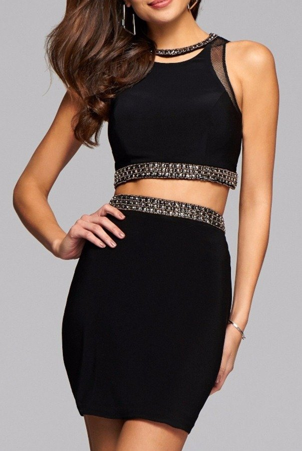 Faviana Black Lace Up Two Piece Cocktail Dress S7866