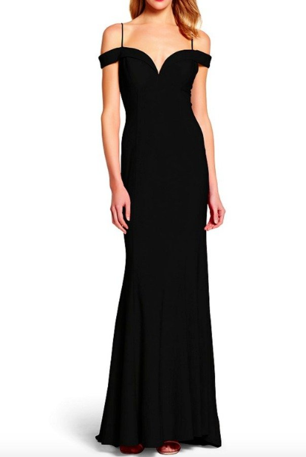 Adrianna Papell Off Shoulder Mermaid Navy Blue Dress Evening Gown