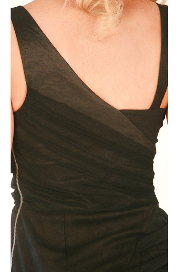 Nicole Miller Elegant Asymmetrical Distressed Leather Dress