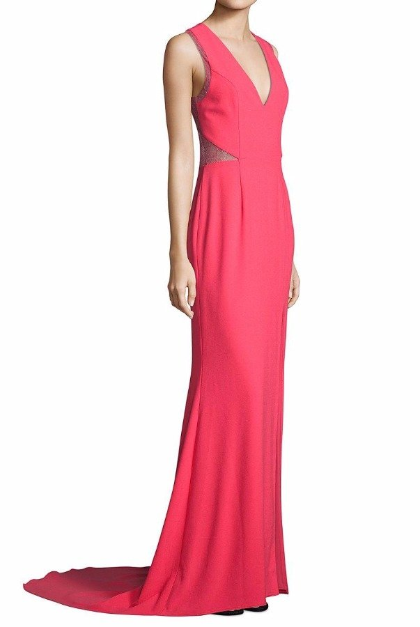Aidan Mattox Pink Tangerine Crepe Lace Illusion Gown Dress | Poshare