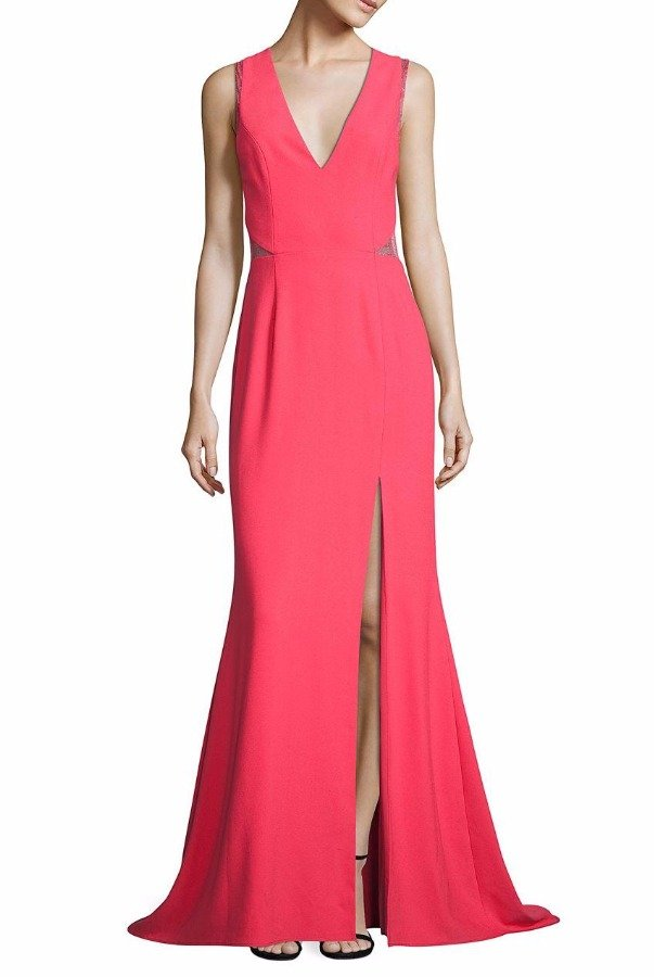 Aidan Mattox Pink Tangerine Crepe Lace Illusion Gown Dress
