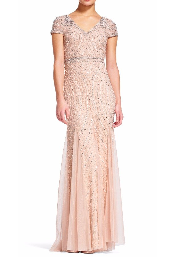 Adrianna Papell Blush Cap Sleeve Beaded Lace Embellished Gown