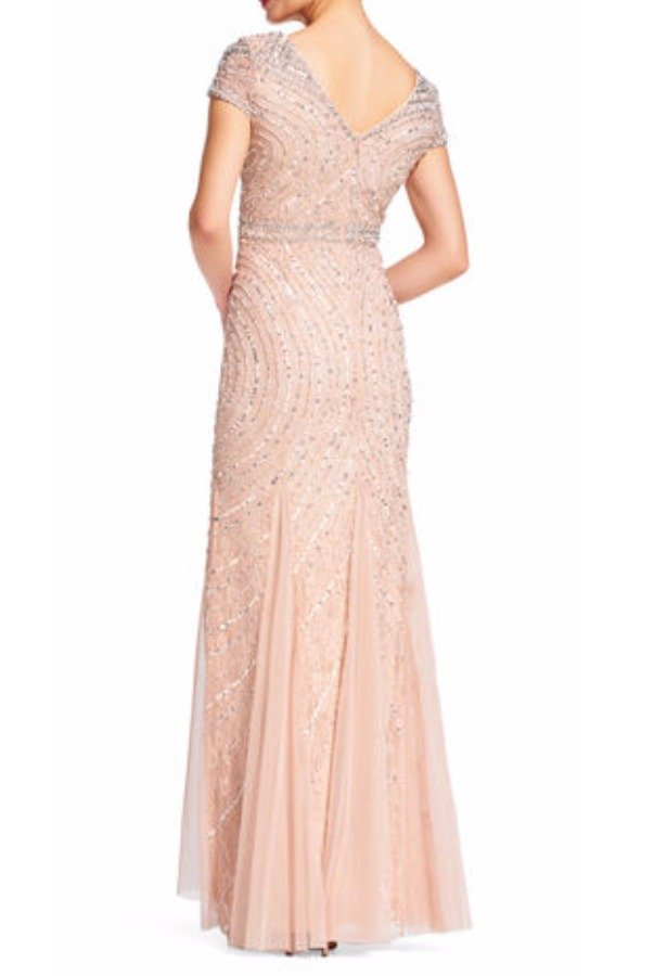 Adrianna Papell Blush Cap Sleeve Beaded Lace Embellished Gown | Poshare