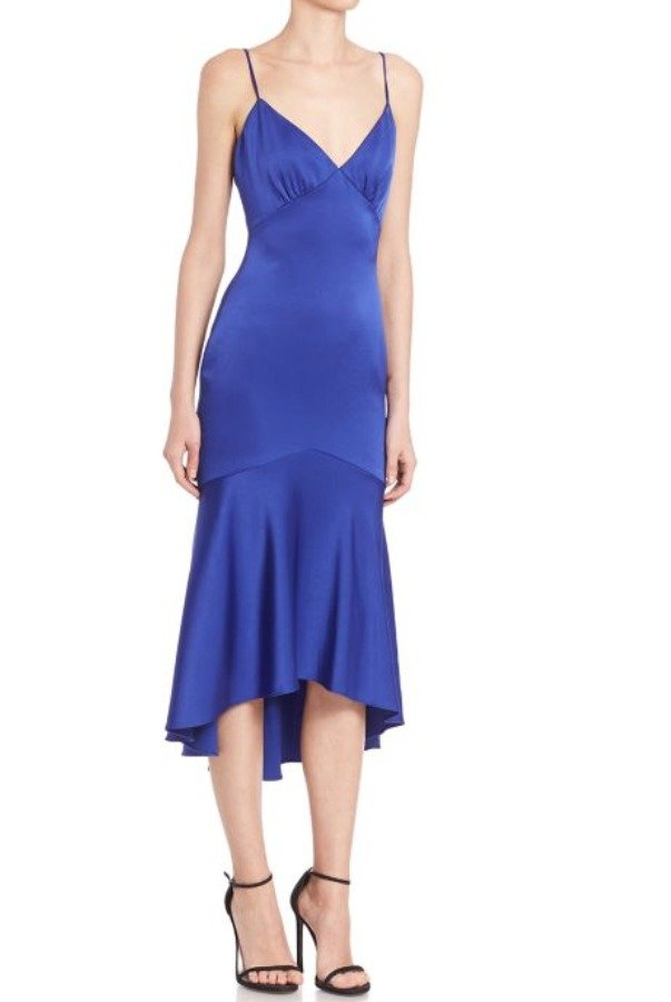 Theia Royal Blue Paneled Cocktail Midi Dress with Deep V