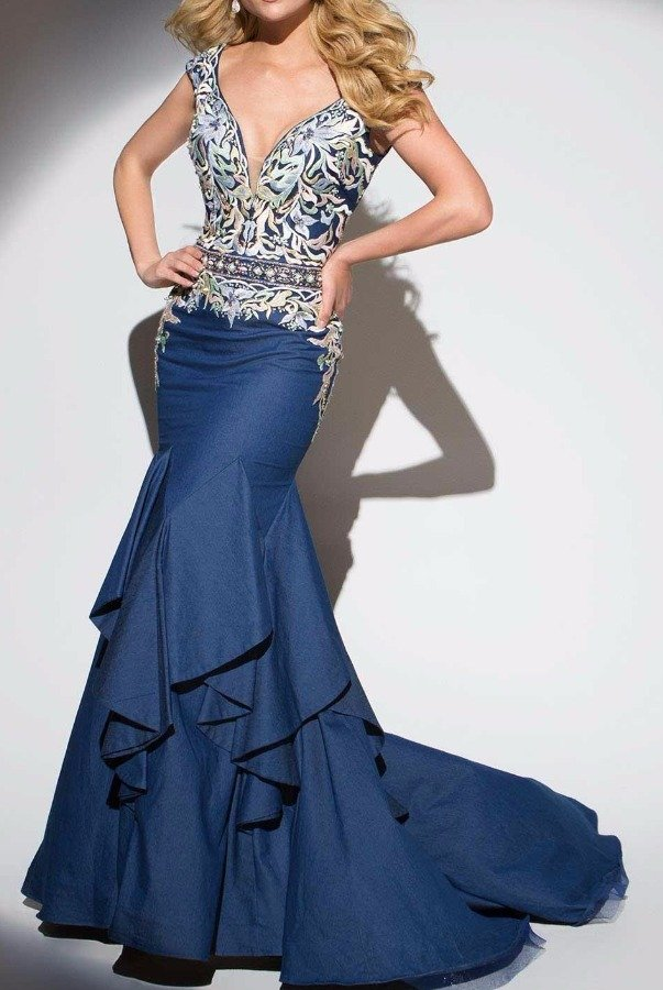 Tony Bowls Blue Embroidered Mermaid Evening Gown TB117293