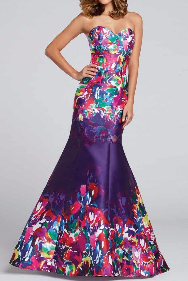 ellie wilde Floral Strapless Mermaid Gown Dress Purple Multi