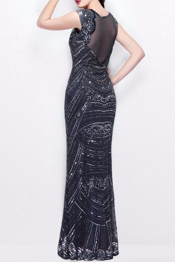 Primavera Couture Gunmetal Embellished Long Evening Gown Dress 1681