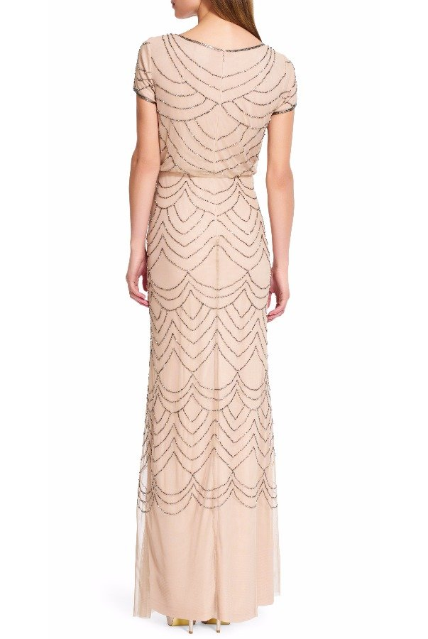 Adrianna Papell  Short Sleeve Blouson Beaded Gown Taupe Pink Dress