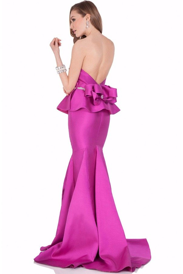 Terani Couture 1621E1475 Strapless Peplum Evening Gown Deep Sea
