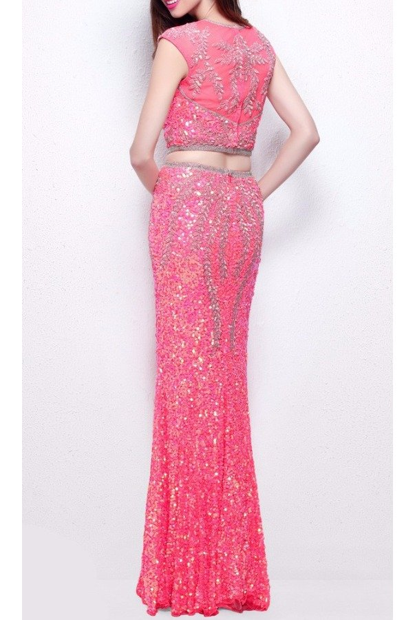 Primavera Couture 1596 Coral Pink Sequin Embellished Two Piece Gown