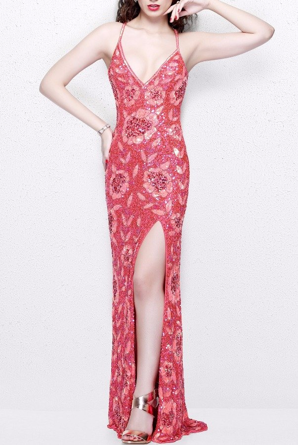 Primavera Couture Embellished Coral Flower Beaded Evening Gown 1820