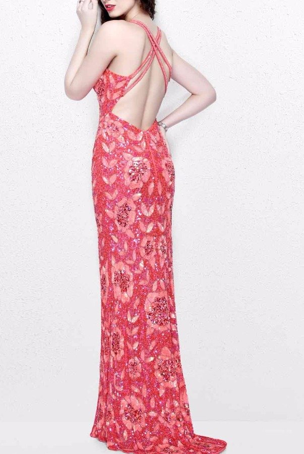 Primavera Embellished Coral Flower Beaded Evening Gown 1820