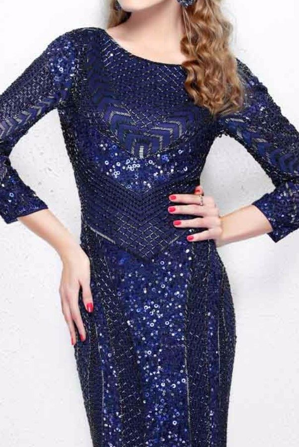 Primavera Couture Long Sleeve Navy Beaded Evening Gown 1683
