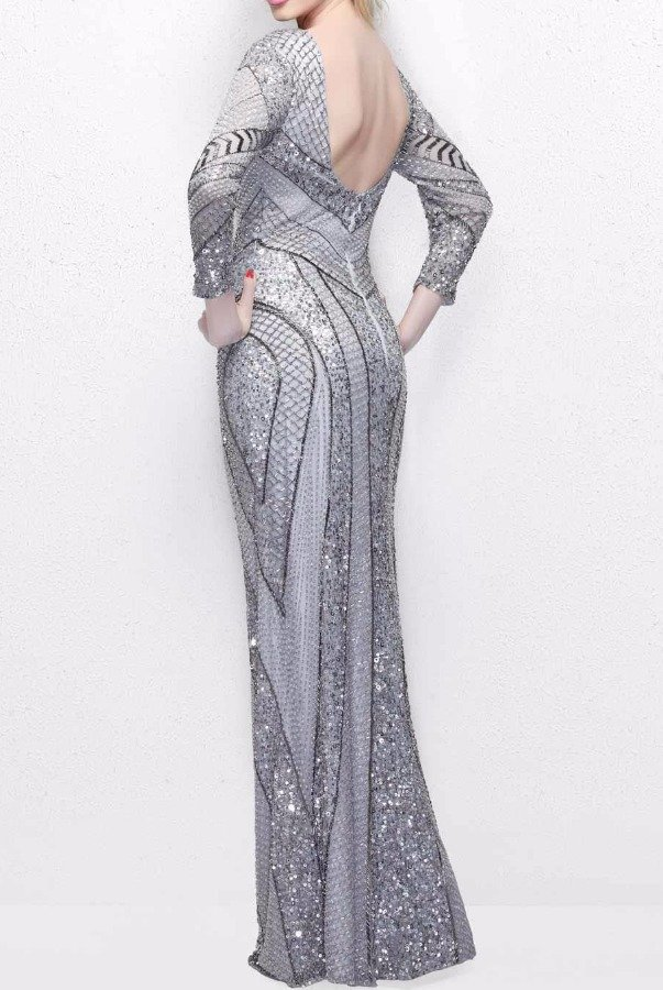 Primavera Couture Platinum Long Sleeve Geometric Beaded Evening Gown