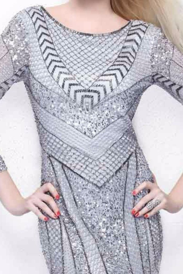 Primavera Platinum Long Sleeve Geometric Beaded Evening Gown