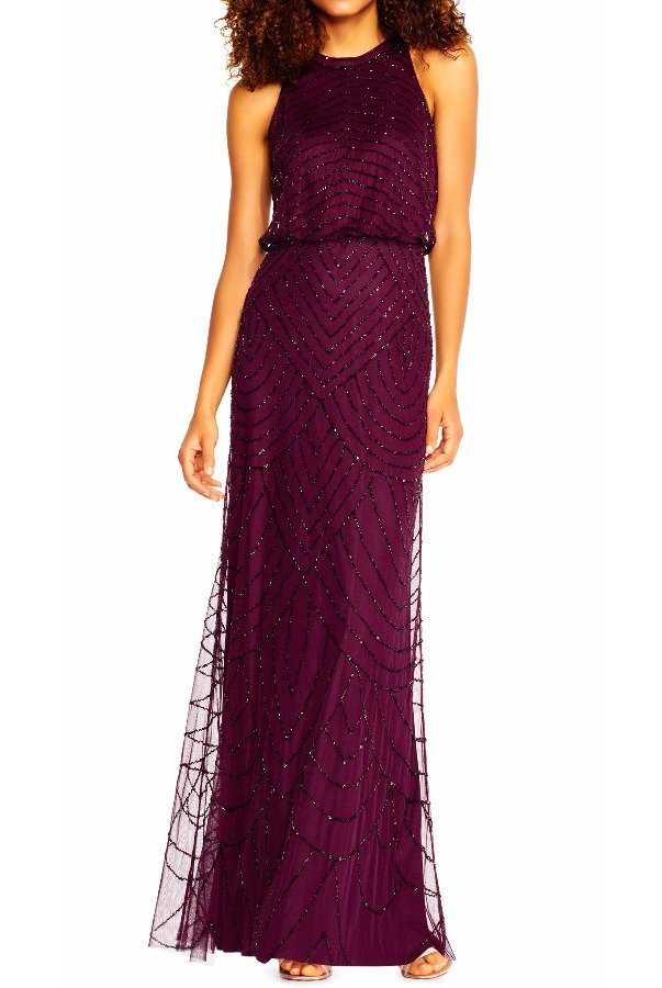 Adrianna Papell Art Deco Beaded Halter top Gown Cassis Purple