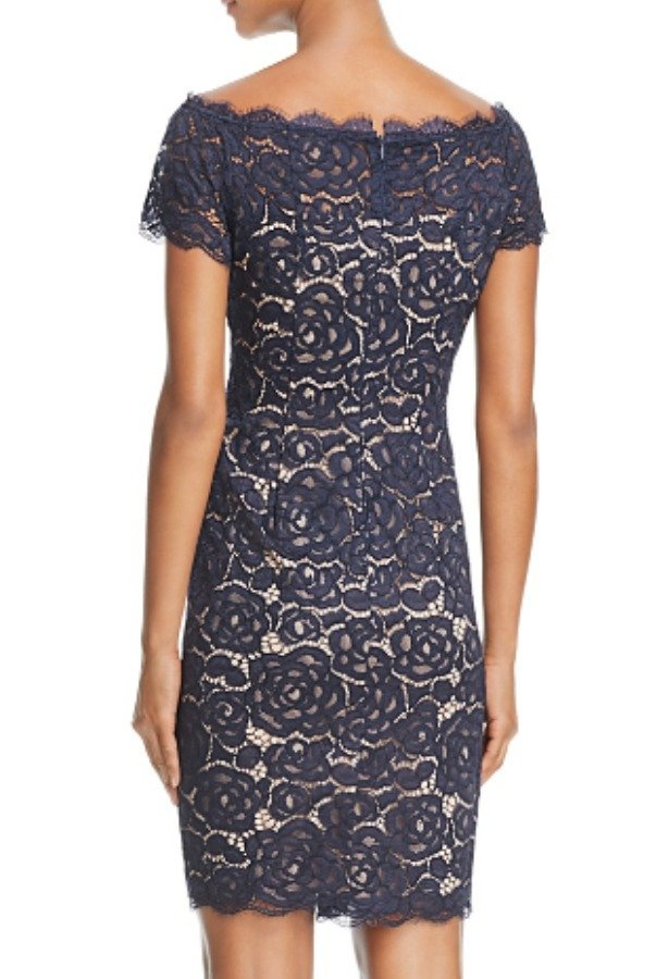 Adrianna Papell Blue Cap Sleeve Lace Party Dress