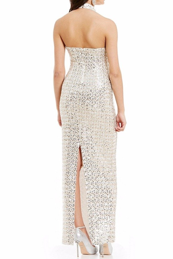 Badgley Mischka Halter neck silver sequin evening gown | Poshare