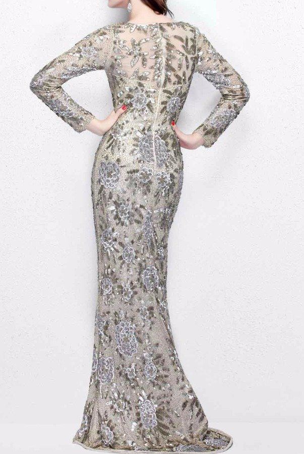 Primavera Glimmering floral full-length gown Champagne 1401