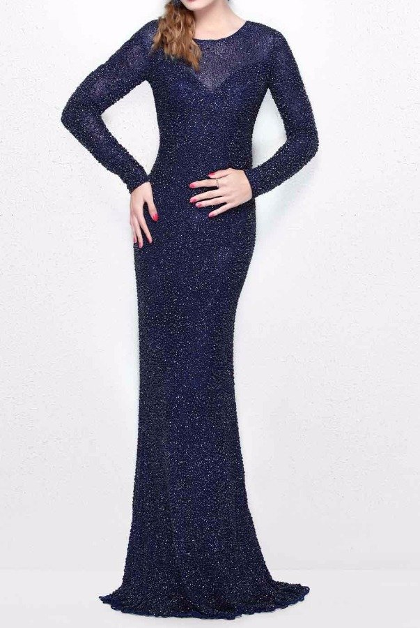 Primavera 1707 Long Sleeve Midnight Blue Beaded Evening Gown | Poshare