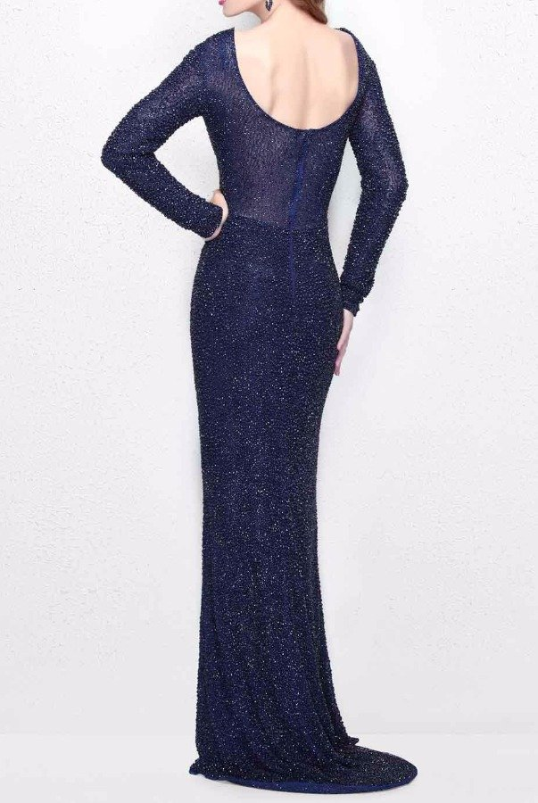 Primavera Couture 1707 Long Sleeve Midnight Blue Beaded Evening Gown