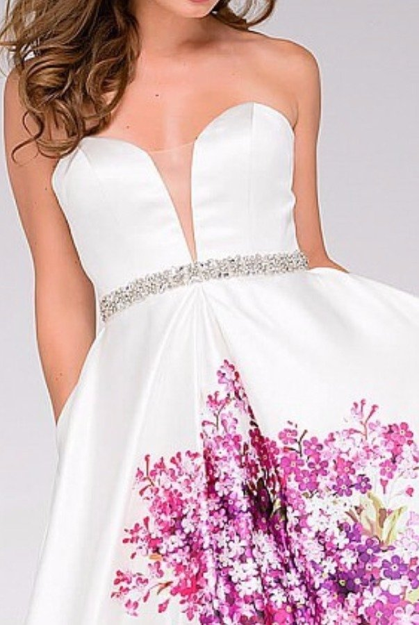 Jovani 42005 Strapless A line Ball Gown Ivory Prom Dress | Poshare
