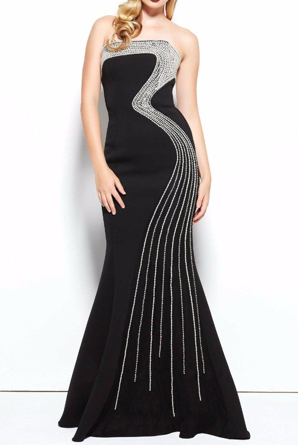 Mac Duggal 85471R Black Crystal accented evening gown dress
