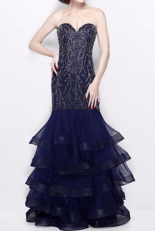 Primavera Couture 1854 Navy Blue Strapless Embellished Evening Gown