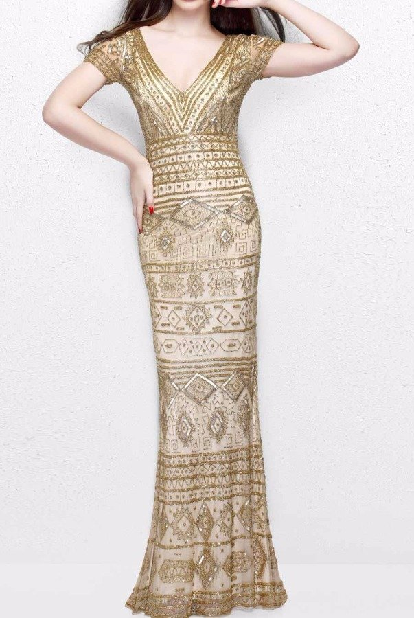 Primavera Couture 1722 Beaded Geometric Print Nude Gold Evening Gown