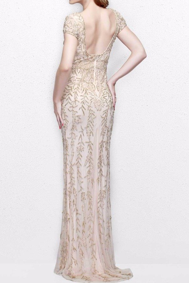Primavera Couture 1735 Beaded Leaf Print Evening Gown in Nude