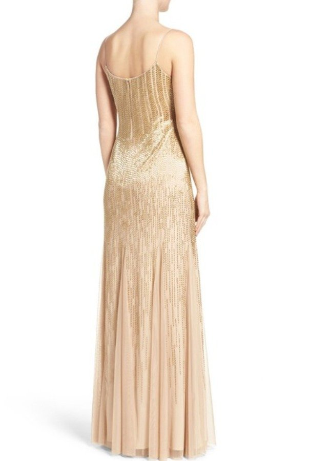 Adrianna Papell Champagne Gold Beaded Ombre Gown