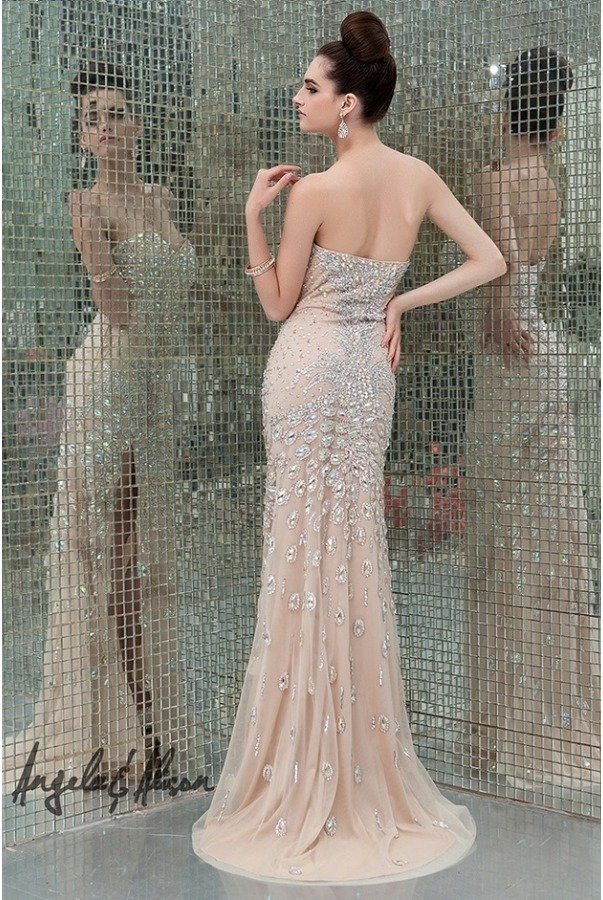 Angela and Alison Lavender Beaded Celebrity Column Gown 41076